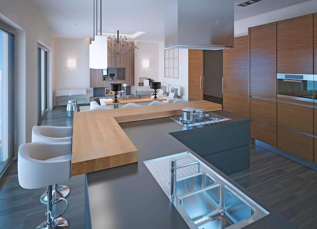 Неоклассический дизайн кухни с барной стойкой и смешанной деревянной и каменной столешницей с газовой плитой и коричневыми шкафами зебрано.