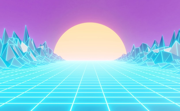 Neon 80s styled background