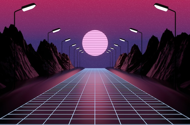 Neon 80s styled , vintage  retro game landscape , lights and mountains 3d rendering.