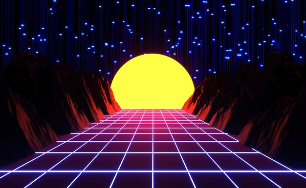 Neon 80s styled , vintage retro game and music landscape , lights and mountains 3d rendering.