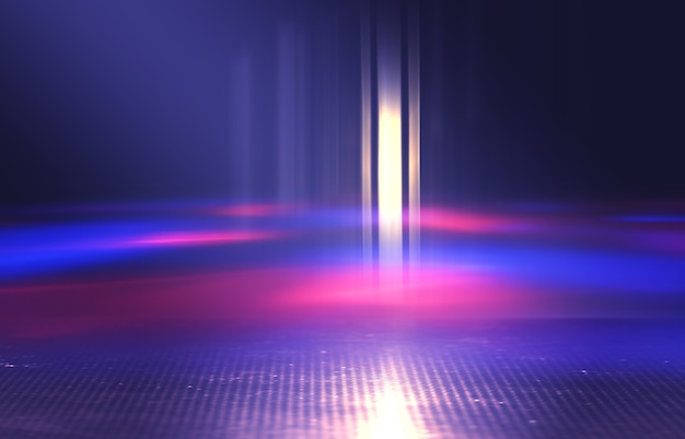 Neon abstract light rays on a dark background light effect laser show surface reflection