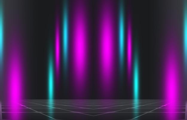 어두운 배경에 네온 추상 광선입니다. 조명 효과, 레이저 쇼, 표면 반사. 자외선, 나이트클럽. 3d 그림
