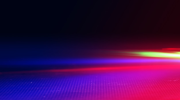 暗い背景にネオン抽象光線。光の効果、レーザーショー、表面反射。紫外線、ナイトクラブ。