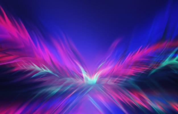 어두운 배경 조명 효과 레이저 쇼 표면 반사에 네온 추상 광선
