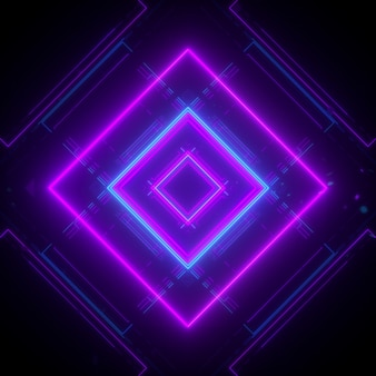 Neon background in cubic style patern 3d rendering