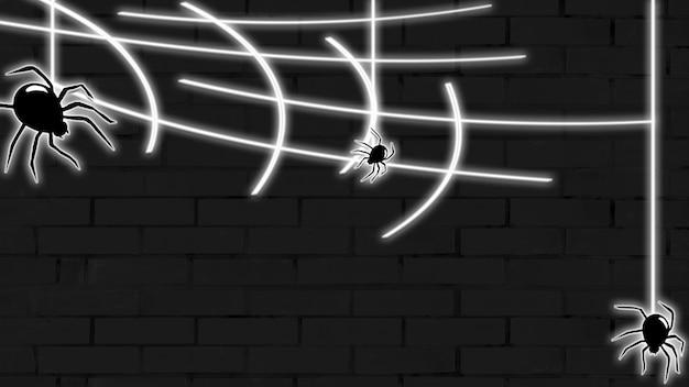 벽돌 벽 배경에 거미와 할로윈 네온 배경