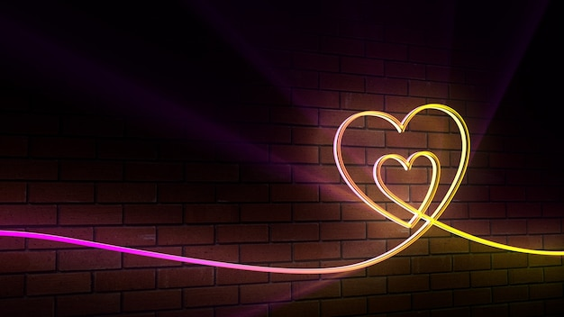 네온 배경, 심장, 벽돌, 클럽, 노을, 사랑, 발렌타인 데이