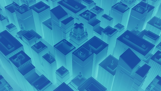고층 빌딩이 있는 네온 블루 시티. 추상 아이소메트릭 도시입니다. 3d 렌더링.