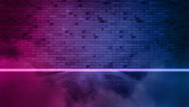 Neon brick wall night with fog and wed asphalt. copy space banner.
