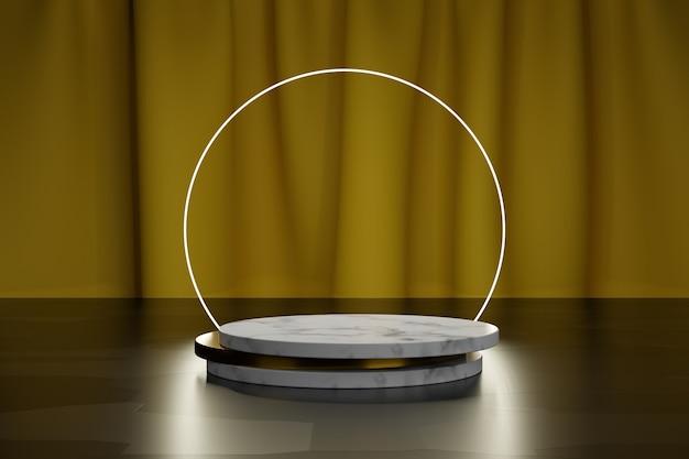 Неоновый круг и мраморные и золотые пластины для презентации продукта с желтым текстильным занавесом