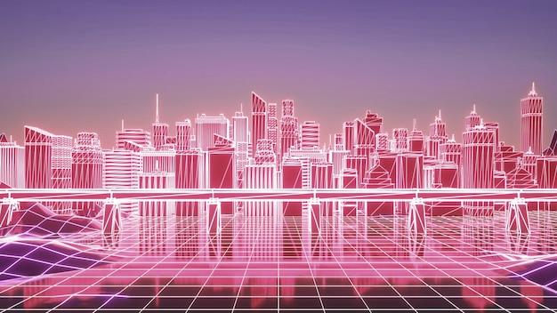 네온시티. 미래의 네온 고층 빌딩 배경입니다. 비즈니스 및 기술 개념입니다. 3d 렌더링.