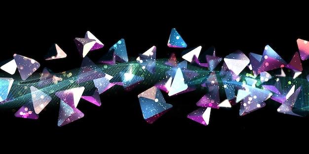 ネオンカラー抽象的な三角形三角形ファンタジーサイエンスの背景