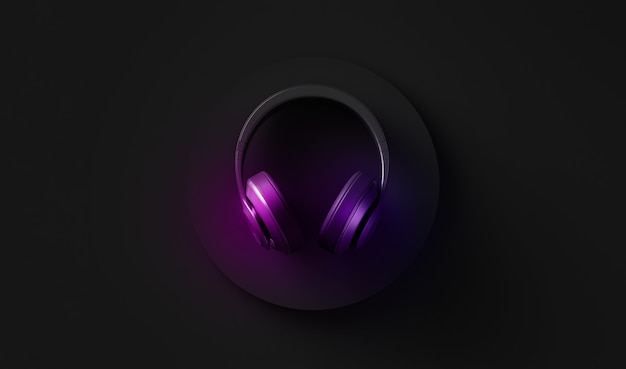 Неоновое цветное изображение беспроводных наушников, вид сверху, черный светящийся фон, дизайн d иллюстрации