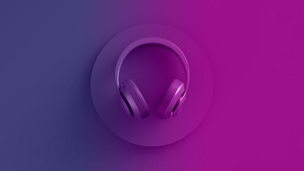 Неоновое цветное изображение беспроводных наушников, вид сверху, розовый, фиолетовый, светящийся фон, дизайн d иллюстрации