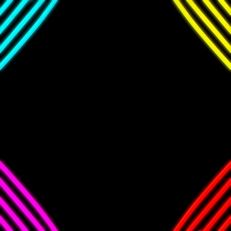 Neon color strip tube on corner of the backdrop