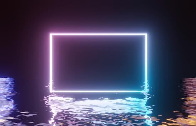 Неоновая световая рамка на отраженной воде. 3d рендеринг