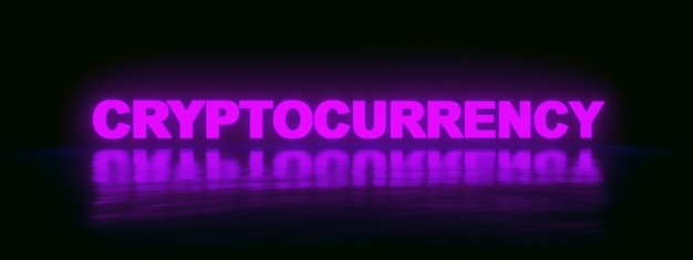 Neon cryptocurrency  inscription over purple