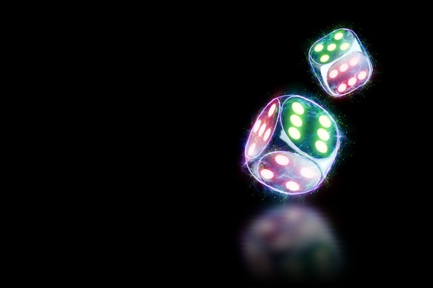 Neon dice on black background isolate. design template. casino concept, gambling, header for the site. copy space, 3d illustration, 3d render.
