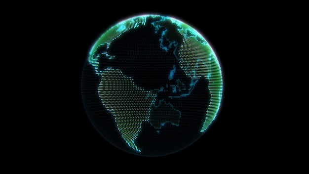 Neon dots earth globe.