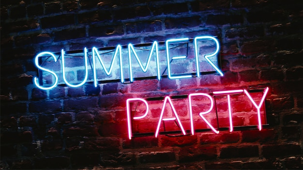 Neon effect text summer party on brick wall