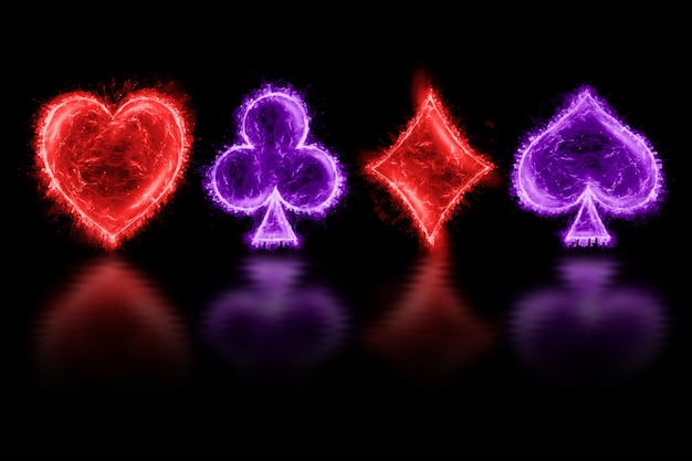 Neon four aces on a dark background. design template. casino concept, gambling, header for the site. copy space, 3d illustration, 3d render.