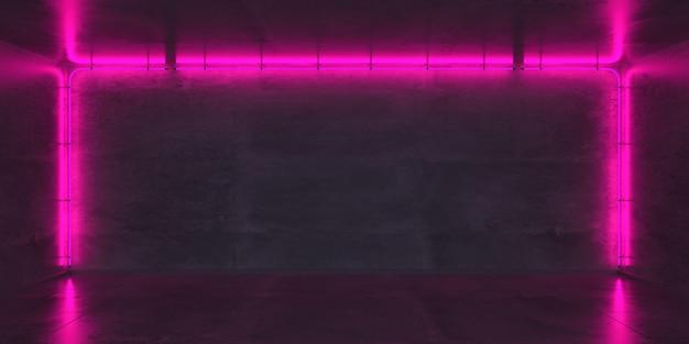 어두운 벽 배경에 네온 프레임