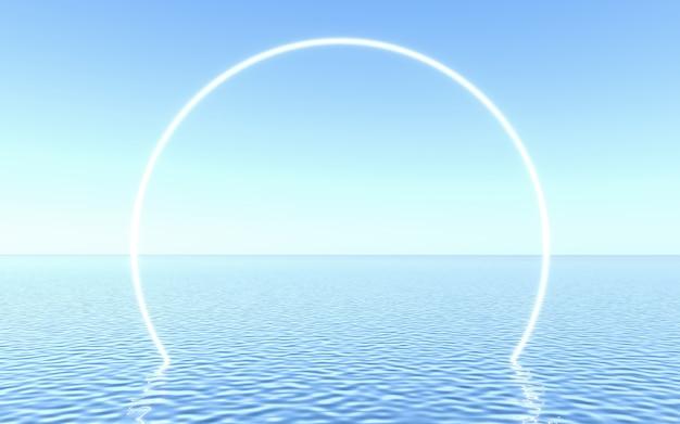 물 위의 네온 프레임, 제품 프레젠테이션 또는 텍스트를위한 스튜디오 장면. 3d 렌더링