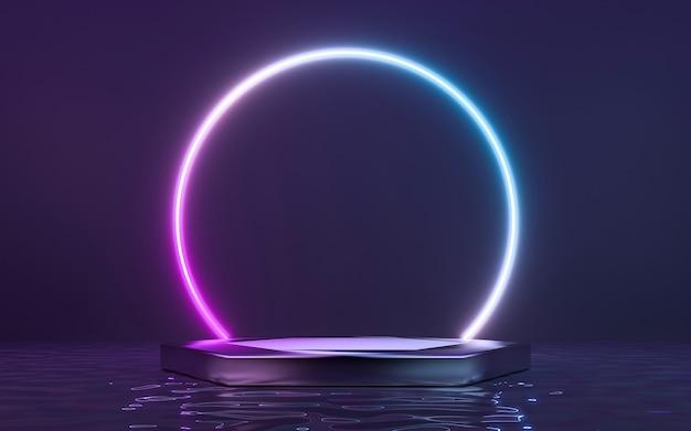 연단과 물에 반사와 모양에 네온 프레임 기호. 3d 렌더링