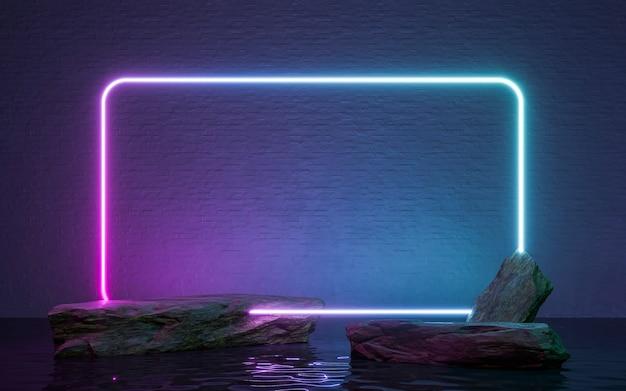 네온 프레임 기호 바위와 물에 반사 모양에. 3d 렌더링