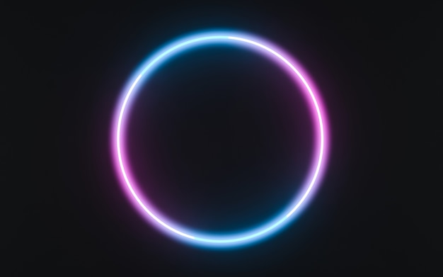 Neon frame sign in the shape of a circle. 3d illustration