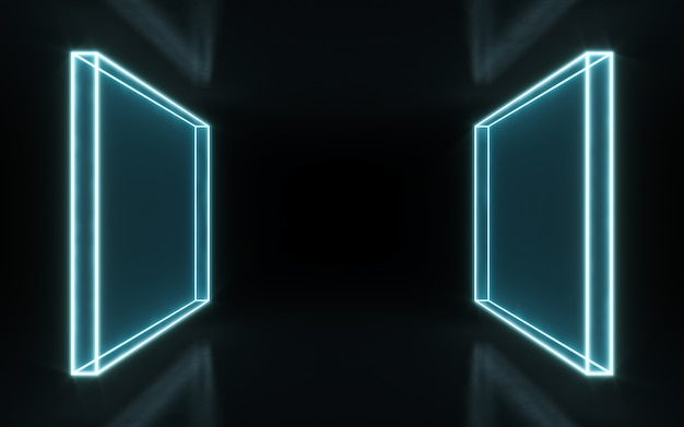 Neon frame sign in the shape of a rectangle. 3d rendering