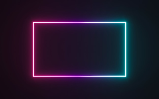 Neon frame sign in the shape of a rectangle