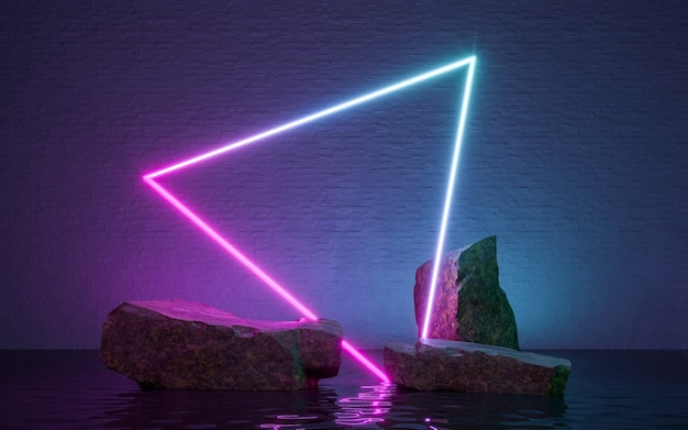 Neon frame sign in the shape with rocks and reflection in the water. 3d rendering
