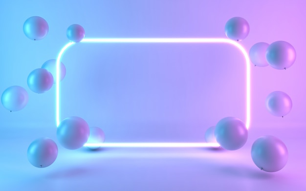Neon frame sign with balloon. 3d rendering
