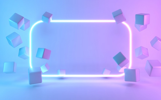 Neon frame sign with cube. 3d rendering