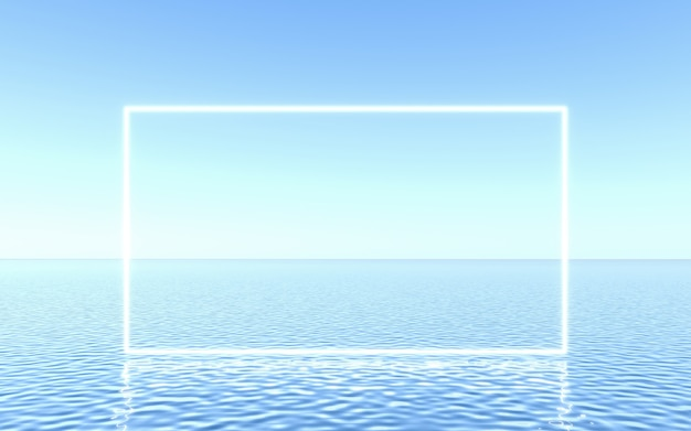Neon frame on water, studio scene for product presentation or text. 3d rendering