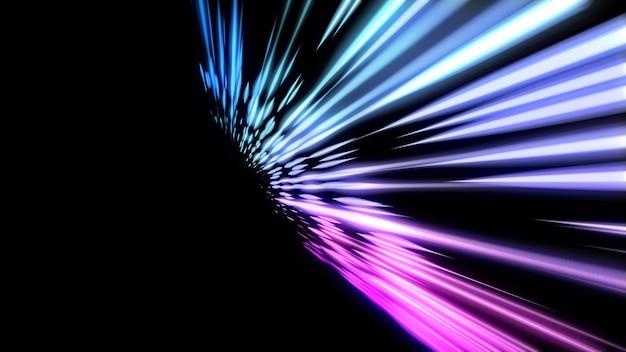 네온 미래의 줄무늬 추상 밝은 배경 네온 광선 copyspace