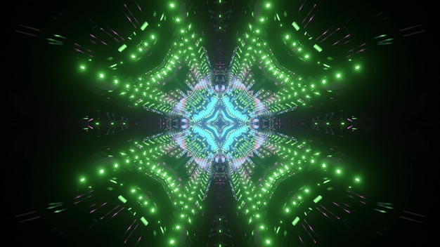 Neon futuristic tunnel with symmetric pattern in green and blue color as 3d illustration