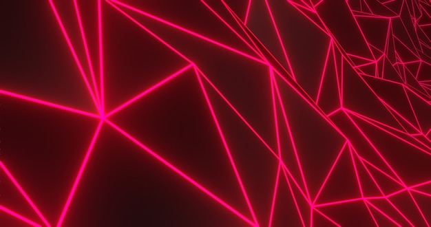 Neon geometric abstract background. 3d render