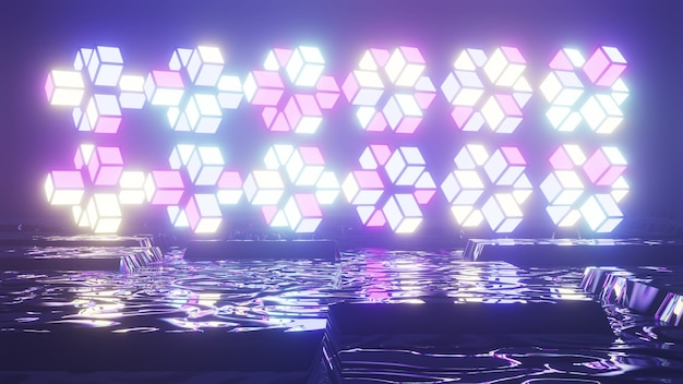 Neon geometric shapes near water 4k uhd 3d illustration