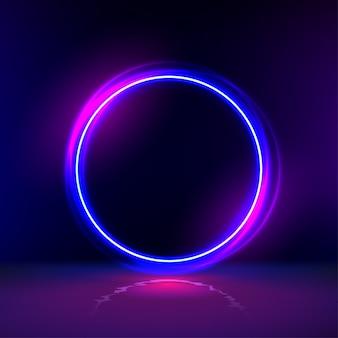 어두운 방에 네온 장갑 반지입니다. 텍스트에 대한 라운드 라이트 프레임입니다. 원형 게이트와 어두운 추상 미래 배경입니다. 다른 우주로 가는 포털.