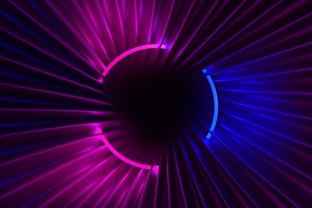 어두운 프레임의 네온 빛과 반짝이는 패브릭 3d 일러스트 흐르는