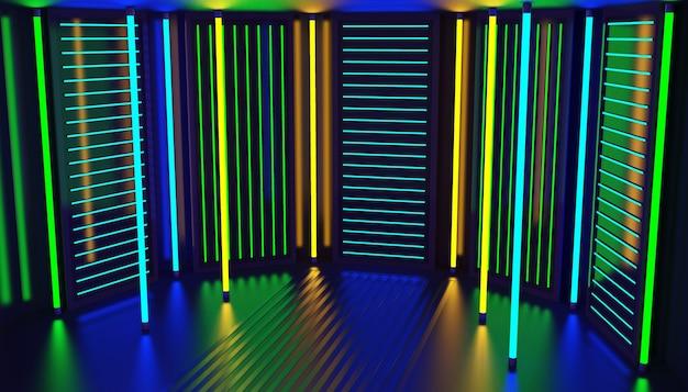 ネオングローパーティールーム抽象的な背景。ナイトクラブのインテリア。