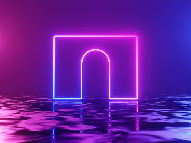 Neon glowing arch on blue and pink background