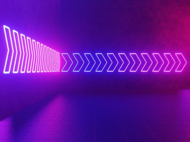 Neon glowing arrow, pointer abstract blue and pink background, 3d rendering