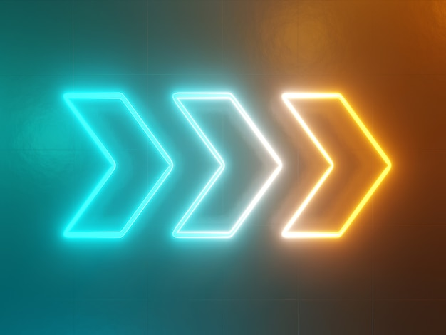 Неоновые светящиеся стрелки указатель абстрактный зеленый и желтый фон 3d рендеринга