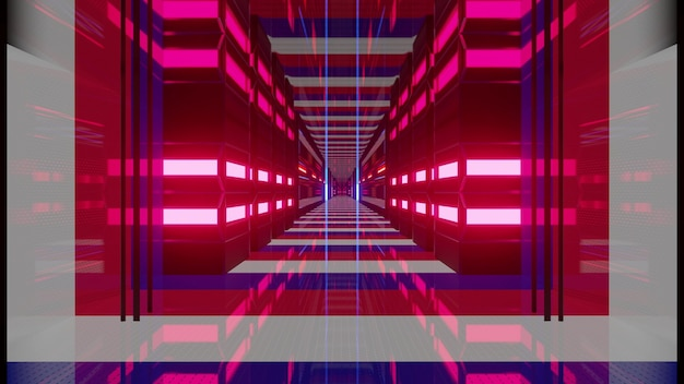 Neon glowing corridor with flag of france as 3d illustration in 4k uhd