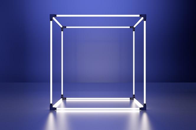 Неоновый светящийся куб в интерьере комнаты.