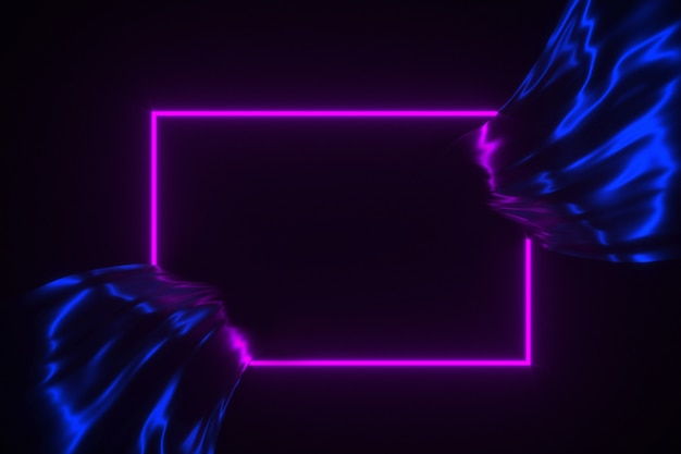 Neon glowing frame on flowing silk background 3d illustration