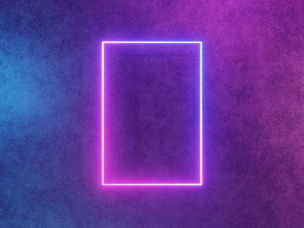 Неоновая светящаяся рамка, прямоугольник абстрактный синий и розовый, 3d-рендеринг